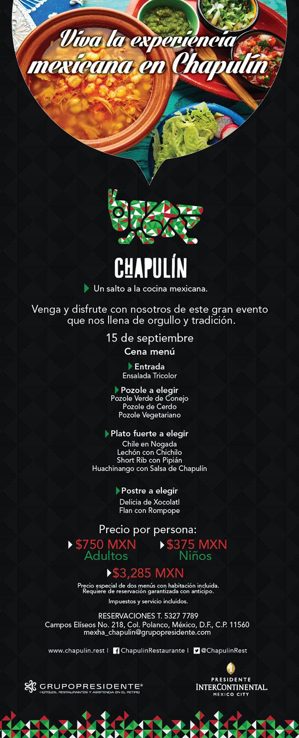 Ven a festejar al chapulin